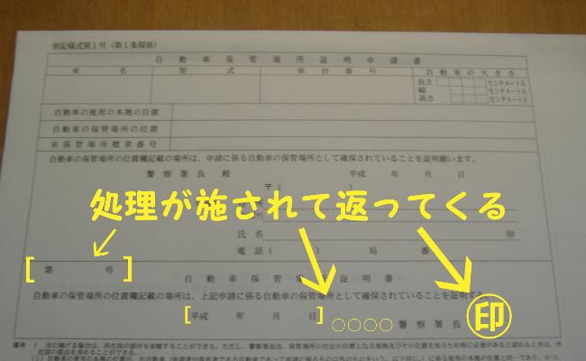 交付される車庫証明書