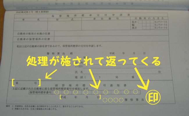 交付される保管場所標章番号通知書