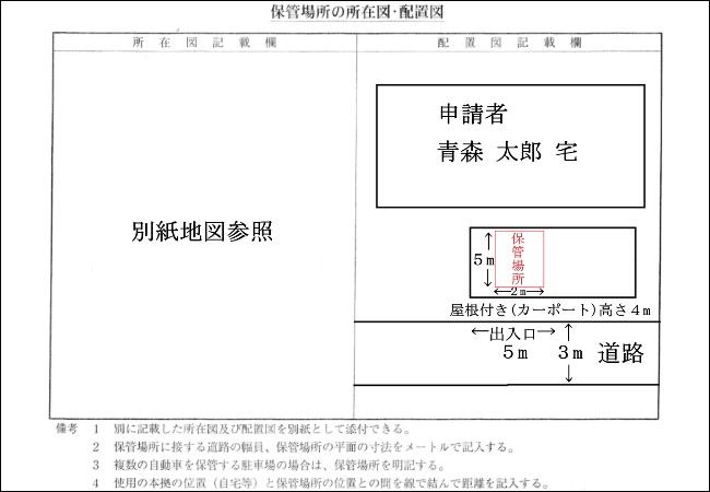 車庫証明 配置図 カーポート